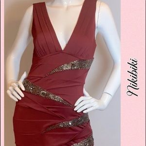 Slimming Deep Red Embellished Bodycon Wrap Dress